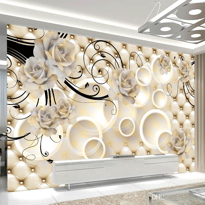 Personalized Customized 3d Wall Mural Wallpapers Modern Fashion White Big Flower Circle 3d Perspective Wallpaper Living Room Home Decorative Vinyl
