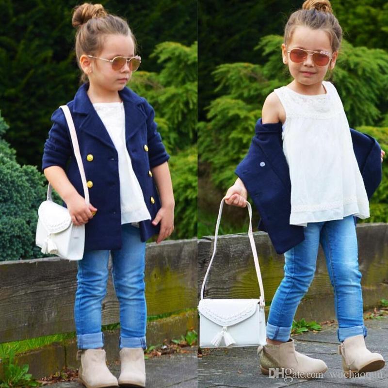 2018 Yeni Çocuk Kış Moda Coat Bebek Kız Koleji rüzgar Coat Çift Sıra Düğme Sıcak Coat BABT'ın Ceket INS Çocuk Giyim Ücretsiz Kargo