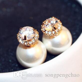 Pearl Earrings Fashion Double Color Double Sided Earrings Zircon Stud Earrings Jewelry for Women Party as gift