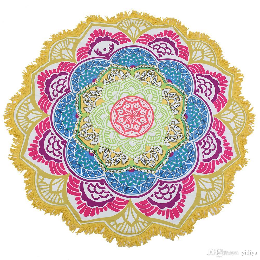 Envío de la gota Borla Mandala indio Tapiz Totem Lotus Impresión Toalla de playa Estera de yoga Bloque de sol Bikini redondo Manta para cubrir