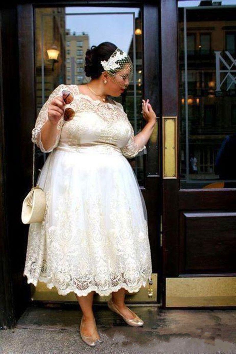 Lace Plus Size Short Wedding Dresses