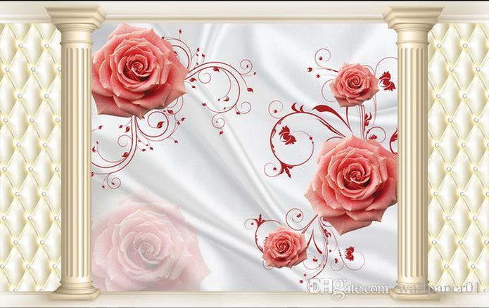 Personnalisé Photo Papier Peint 3D Stéréo D'origine Rose 3D Pack Doux Roman Colonne TV Fond Mur Peinture Décorative Art Mural pour Salon L