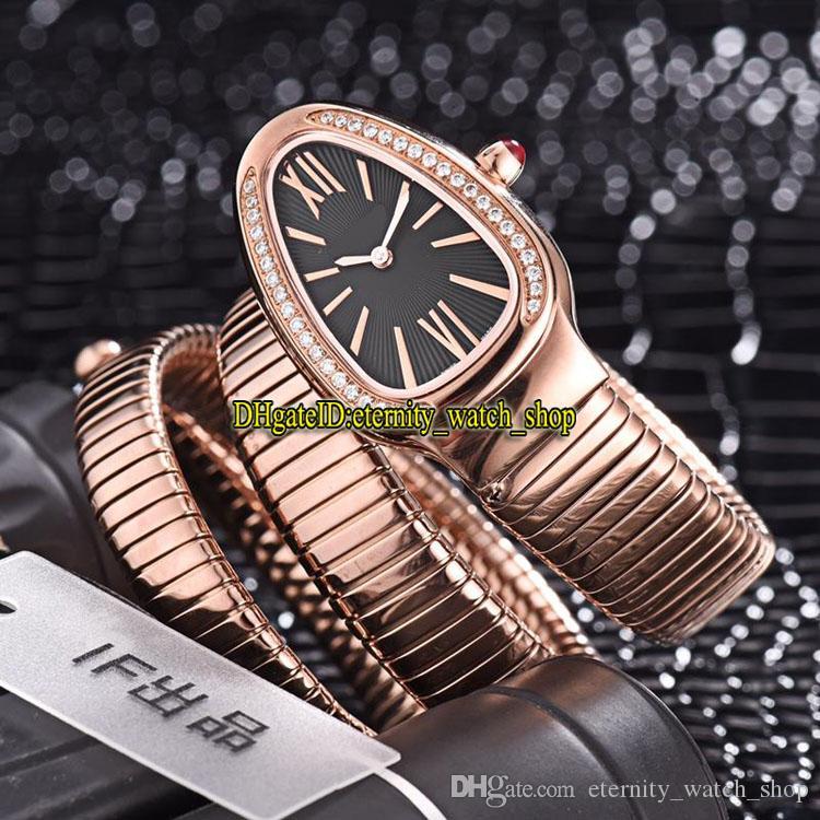 8 Renkler Luxry Yeni Serpenti Tubogas 101814 SPP35BGDG.2 T Siyah Dial İsviçre Kuvars Bayan İzle Diamonds Kılıf Bilezik Moda Lady Saatler 02