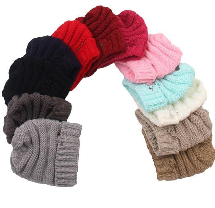 Bebek Şapkalar Trendy Beanie Tığ Moda Beanies Açık Şapka Kış Yenidoğan Beanie Çocuk Yün Örme Caps Sıcak Beanie KKA2143