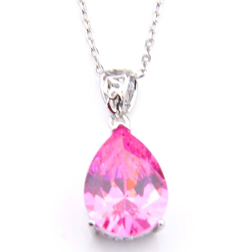 Luckyshine 10 st eleganta hängsmycken smycken gratis frakt teardrop formad rosa topas zirkon pendlar för halsband kvinnor smycken varm