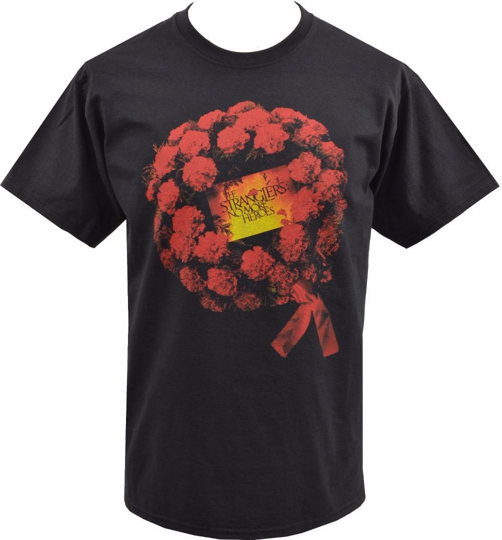 Mens Black T-shirt The Stranglers No More Heroes Roses Anglais Punk Rock S T-shirt D'été En Coton À Manches Courtes De Mode