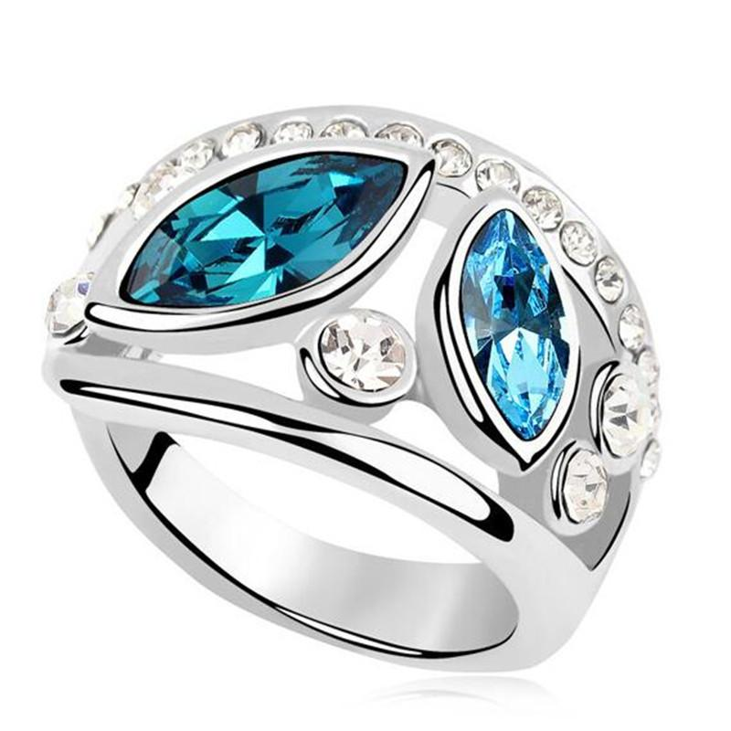Fashion Jewelry Rings For Women Crystal from Swarovski Elements Engagement High Quality Accessories Gift White Gold Plated 9055