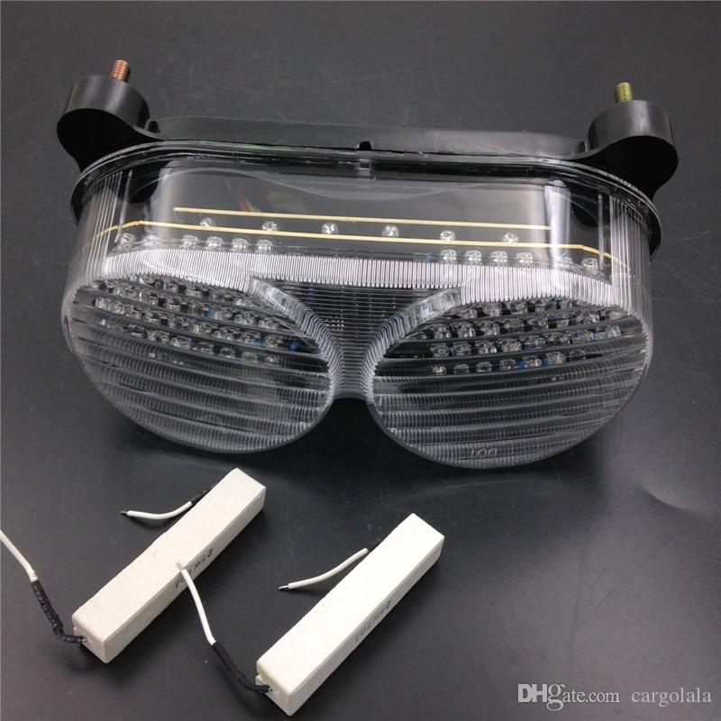 투명한 오토바이 LED 테일 라이트 신호등 가와사키 닌자 ZX6R 들어 1998-2002 ZZR600 2005-2008 ZX9R 1998-2005 ZR7S 2000-2003