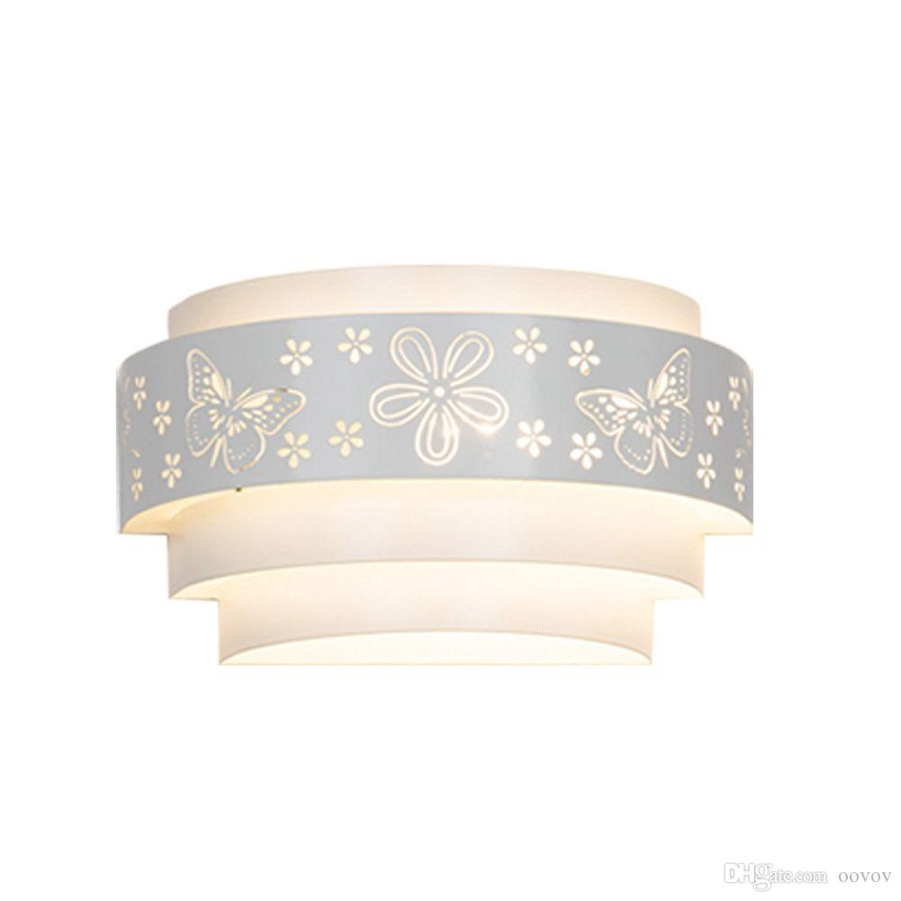 OOVOV White Iron Butterfly Flowers Wall Lamp Bedroom Girls Room Bedsides Corridor Balcony Wall Light 25cm E27
