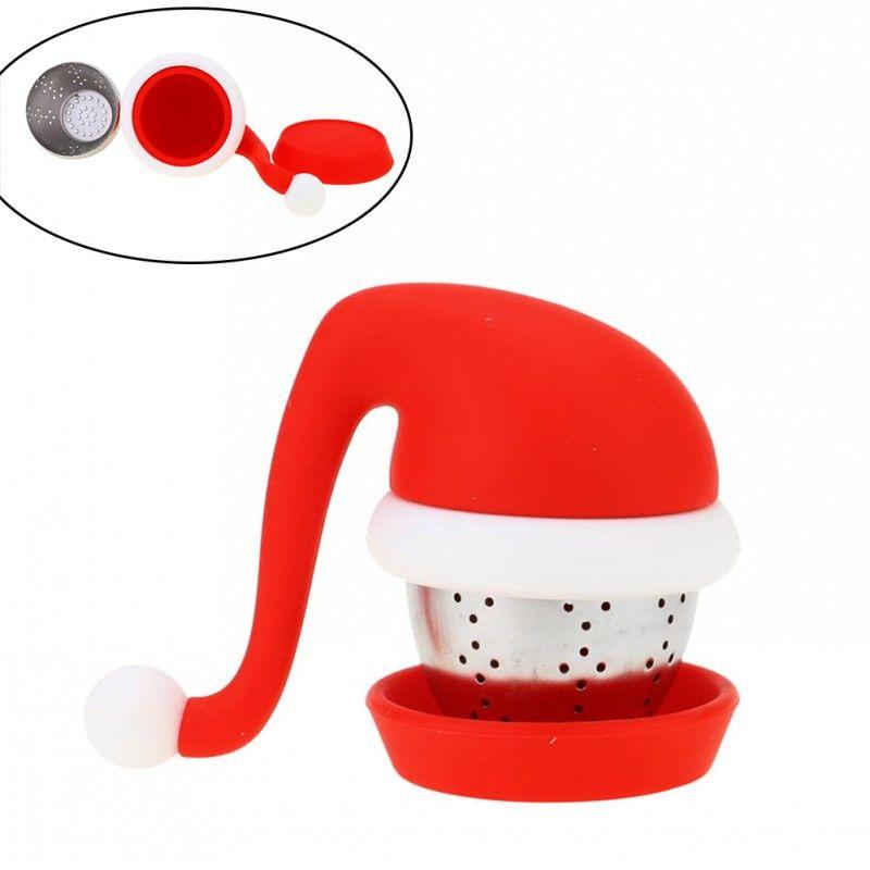 Santa Şapka Süzgeç ve Çelik Topu ile çay Demlik Gıda Sınıfı Silikon Çay Poşetleri Filtreler Yaratıcı Tasarım Yılbaşı Hediyeleri temizlemesi kolay
