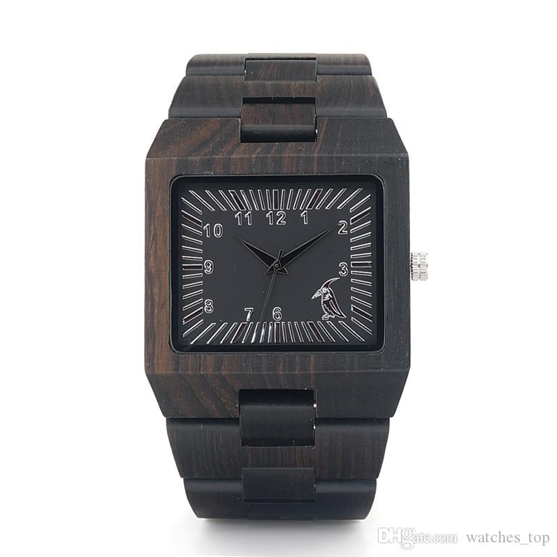 BOBO BIRD Ebony Wooden Mens Watches Cool Square Wood Case Band Japan 2035 Movement Quartz Watch accept OEM Customization 2018 Fashion Gift
