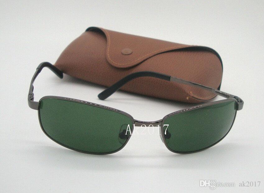 1Pair High Quality Mens Flight Sunglasses Sports Eyewear Rectangular Sun Glasses Gun Metal Green Glass Lenses 60mm With Brown Cases