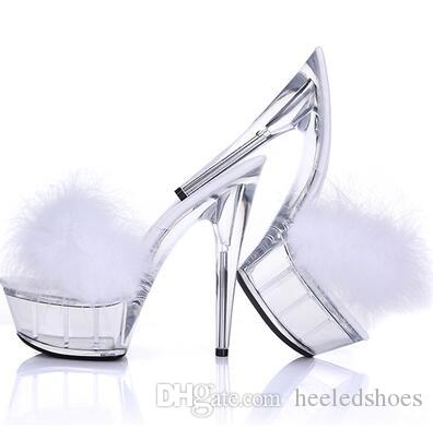 Sexy Bird Feather Fur PVC Sandals Slingbacks High heels Slipper sandals Shoes Pumps Transparent Stiletto Night Club Ball Crystal Shoes