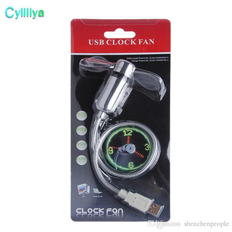 PC portable ventilateur pales Gadget USB Mini ventilateur flexible Horloge LED ventilateur avec éclairage LED avec emballage de vente au détail