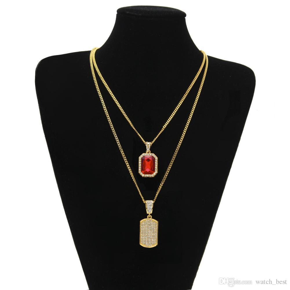 Conjuntos de Venda quente Diamante Mens Jóias Mini Requintado Hip-Hop Gem Pingente Combinação Design Homens Colar Antigo Mo Ornamentos Set