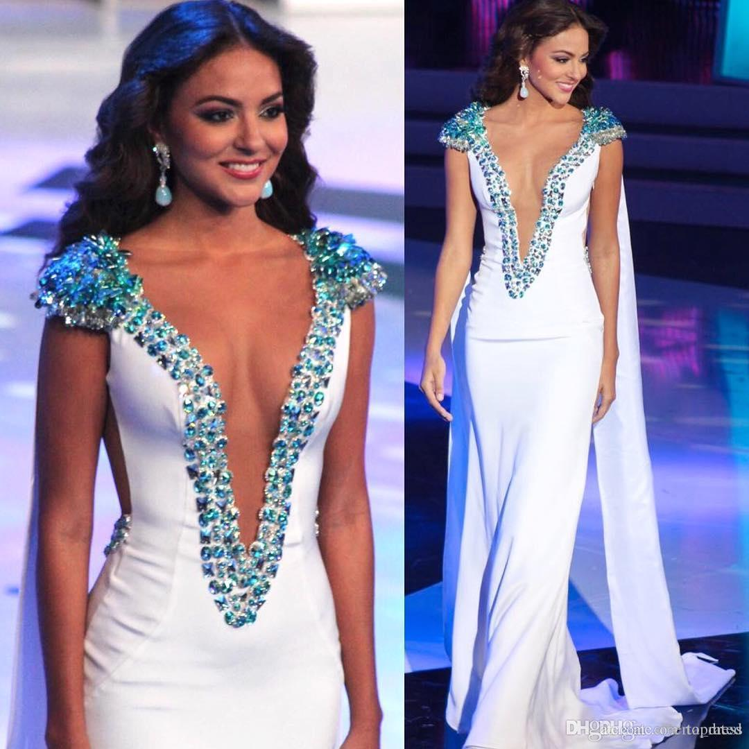 Miss World Beauty Queen Pageant Evening Gowns White Sheath Satin Beading Cap Sleeves Plunging V-Neck Prom Gowns Formal Occasion Dresses