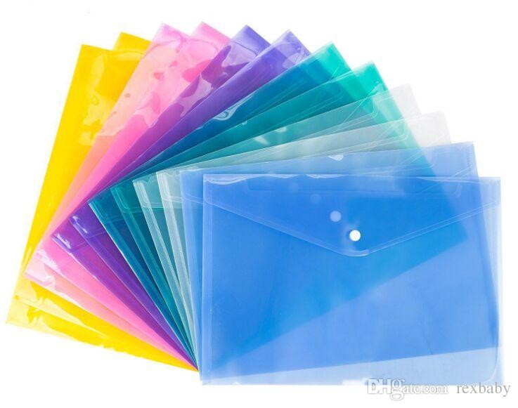 4 أكياس ملف وثيقة A4 اللون مع زر انجذاب شفاف مغلفات الايداع البلاستيكية ملف ورقة المجلدات