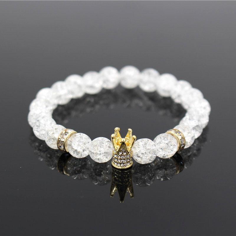 Micro Pave White CZ Gold Color King Crown Charm Bracelet Men Dull Polish White Popcorn Stone Bead Bracelet Jewelry For Women