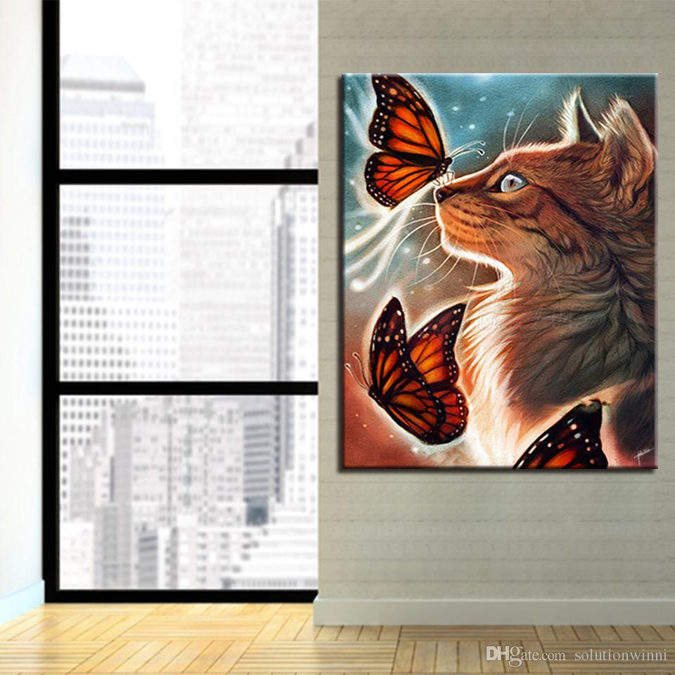 Quadro DIY Dipinto ad olio By Numbers Drawing Kit Cat Farfalle Fly Immagini Colori Su Tela Home Decor Living Room Wall Art