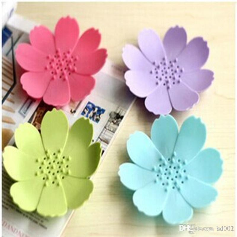 New Creative Multi Color 3D Mini Flower Shape Soaps Holder Silicone Soap Dish Non Slip Home Bathroom Articles Hot Sale 2 3zb aakk