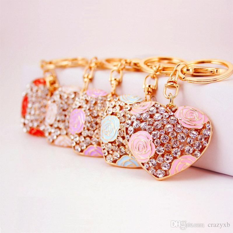 Fashion Creative Hollow Crystal Peach Heart Rose keychain Hot Sale Charms Pendant Women Handbag key ring Key Bag Gift Free Shipping