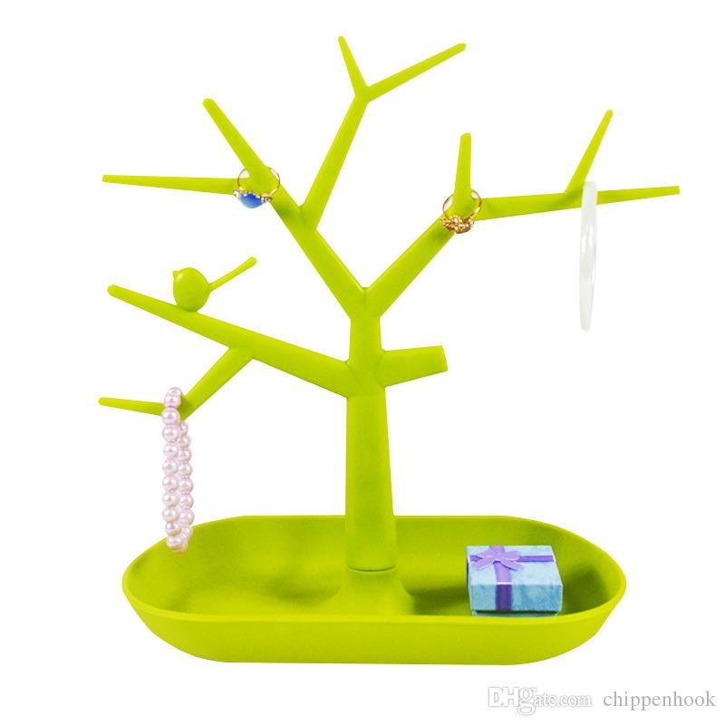 Free Shipping Hot Sales 2Pcs Fashion TC Jewelry Necklace Ring Earrings Bird Green Tree Stand Display Organizer Holder Rack