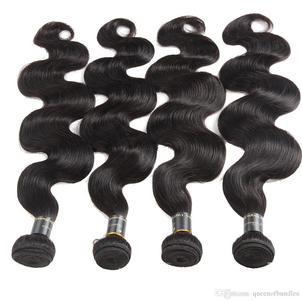 8A Vizon Brezilya vücut Dalga Bakire Saç 4 adet / grup Malezya Perulu Brezilyalı Saç Örgü Demetleri Islak ve Dalgalı Virgin İnsan Saç Atkı