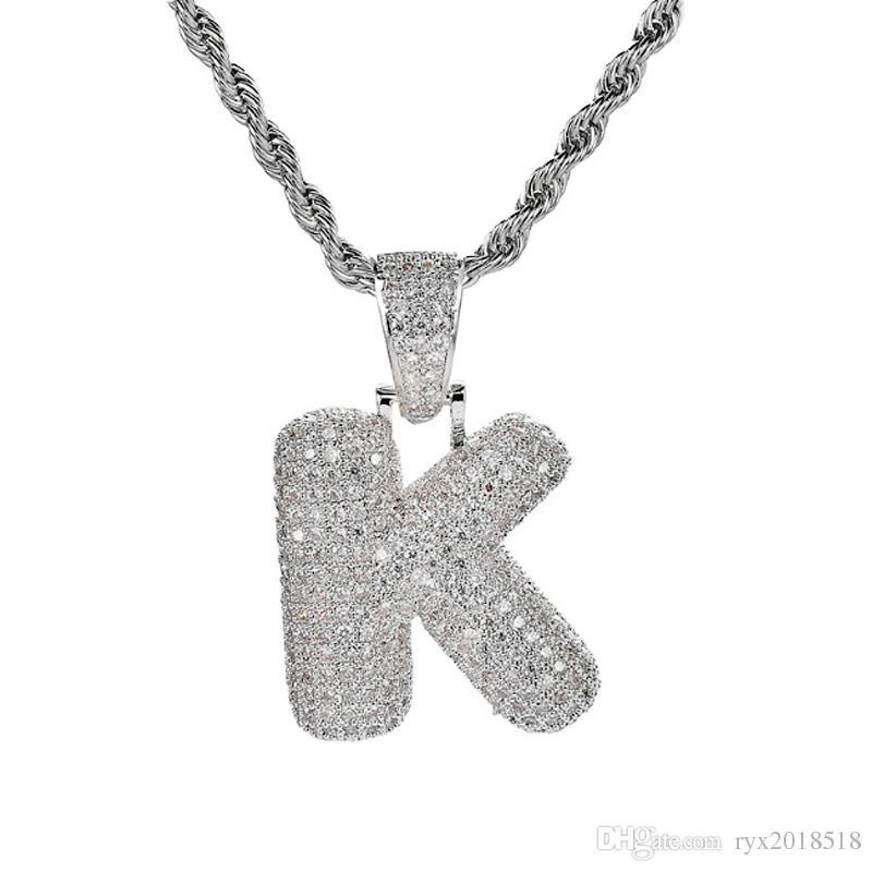 Argento 26 lettere per la scelta Bubble Letter Collana con pendente con micro pavè di zirconi e catena a catena Hip Hop per gli uomini Gioielli unisex