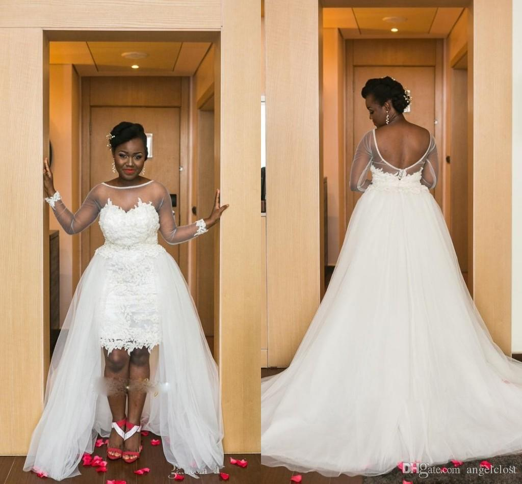 Africa Hi-Lo Lace Wedding Dresses With a Detachable Train 2019 Sheer Neck Long Sleeves Backless Customized Arabic Bridal Gowns Plus Size