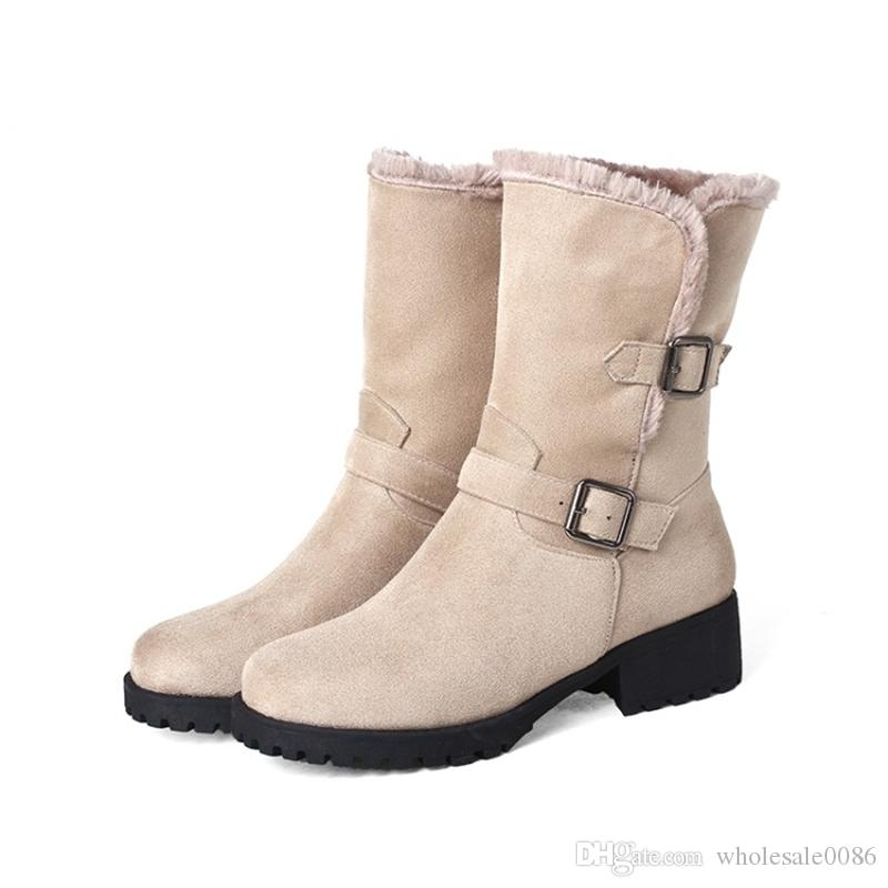 Fashion Womens Ladies Faux Suede Winter Warm Mid-Calf Half Boots Shoes Square Heel Boots B872 Size Customized