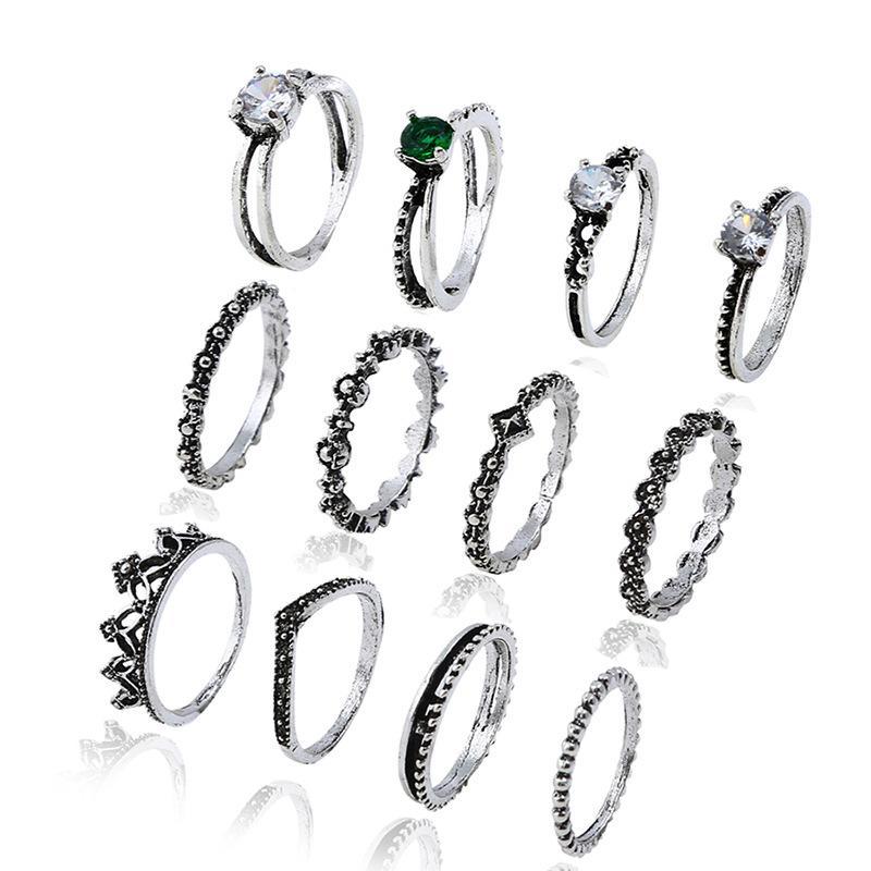12Pcs / Lot argento placcato retro donne bohemien anello di gioielli di alta qualità retrò vintage gioielli di strass di cristallo set banda anello spedizione gratuita