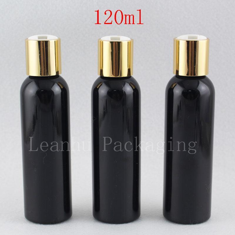 120ML زجاجة فارغة الأسود جولة الصابون السائل لوسيون مستحضرات التجميل الحاويات الذهب الألومنيوم القرص الأعلى كاب، كاب المعادن لوسيون زجاجات 4oz سعرنا