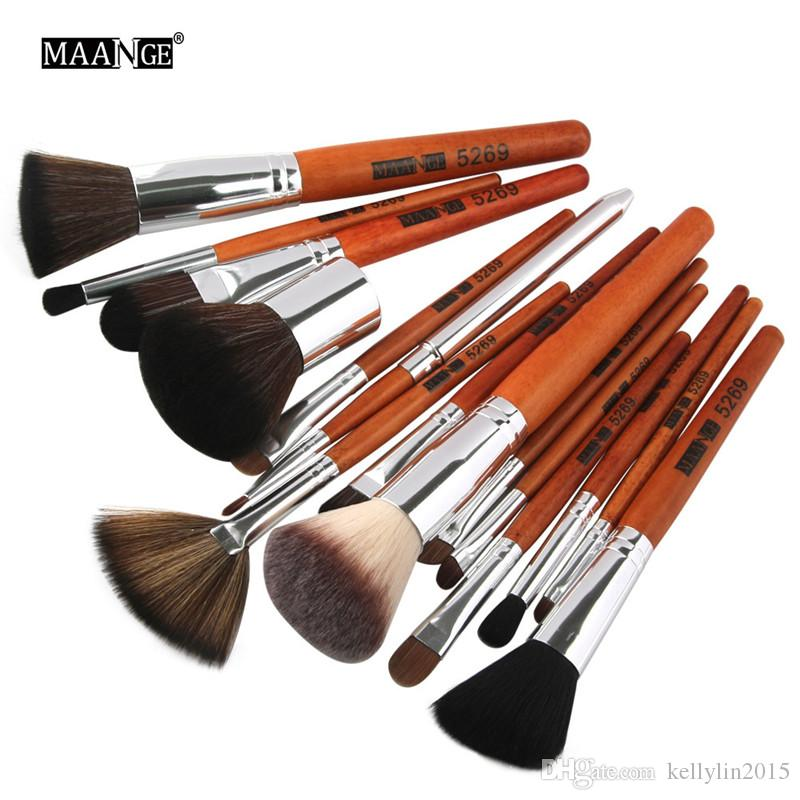 15pcs Makeup Brushes Set Professional Imitation Wooden Handle Foundation Powder Eyeshadow Brush Highlight Blending Make Up Brush Tools Kit