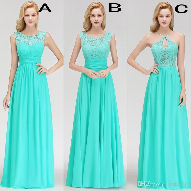 Real Photos 2019 Designer Country Style Turquoise Bridesmaid Dresses Custom Made Lace Chiffon Long Formal Wedding Guest Party Gowns BM0052
