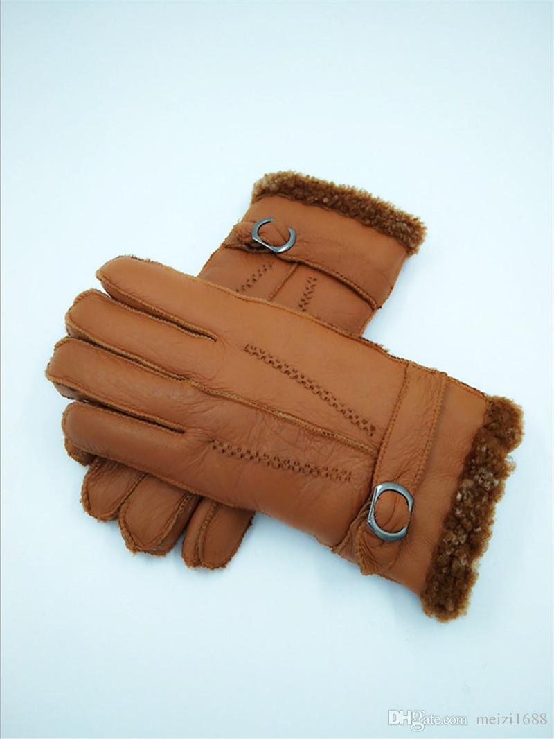 Free Shipping - High Quality Men Winter Casual Warm Leather Gloves Men Outdoor Cycling Gloves Wool Gloves/Thickening