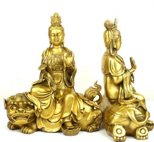 Brass ornaments, white elephant Qingshitan Monju Fugen Home Furnishing metal crafts decoration home feng shui