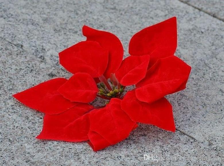 """Vermelho 100p Dia.20cm / 7.87 """"Simulação Artificial Silk Poinsettia Natal Flor Flores Decorativas"""