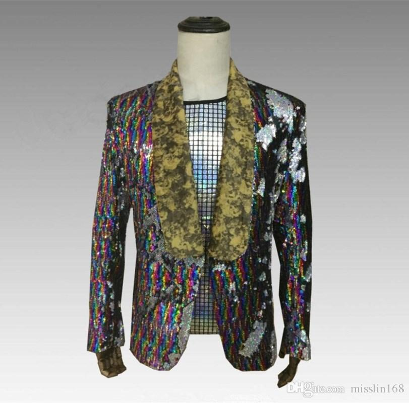 Haute qualité Coloré Réflecteur Paillettes Blazers Manteau Discothèque Hommes Chanteur Costume Brillant Paillettes Slim Veste Bar Compere Party Stage Outfit