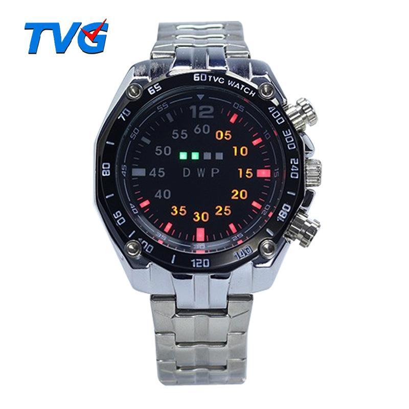 Nueva TVG Hombres de acero inoxidable del reloj del deporte LED Relojes Casual reloj de pulsera de reloj Relogios Masculino