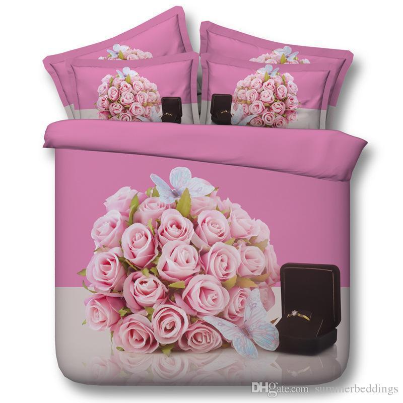 3D set di biancheria da letto floreali copertura anello piumone copriletto rosa copertura consolatore Lenzuola Quilt Cover letto fodere per cuscini per le signore donne adulti