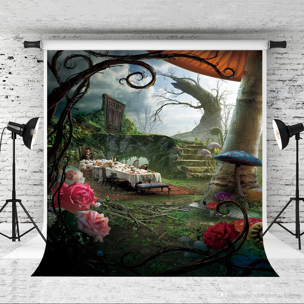 Dream 5x7ft Fairy Tale Photography Backdrops Flowers Mushrooms Photography Backgrounds Photo Studio for Children Family Photobooth Prop