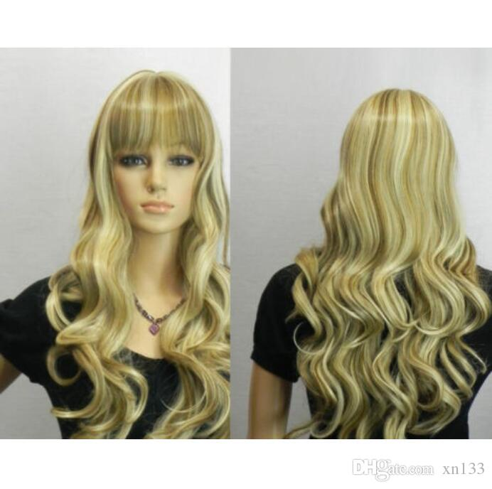 Blonde Mix Brown Long Curly Neat Bangs Mujeres Cosplay Party Hair Peluca Pelucas + Gorra