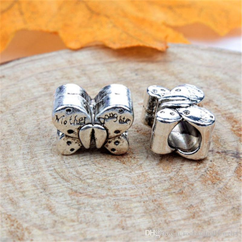 Mother And Daughter Butterfly Alloy Charm For Pandora Bracelet Snake Chain Or Necklace Fashion Jewelry Loose Bead New Arrival