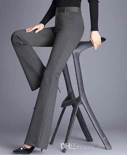 Neue Art und Weise beiläufige Schlaghosen Frauen grün rot grau orange schwarz blau voller Länge hohe Taillenhose weiblich mpf0802 Abnehmen
