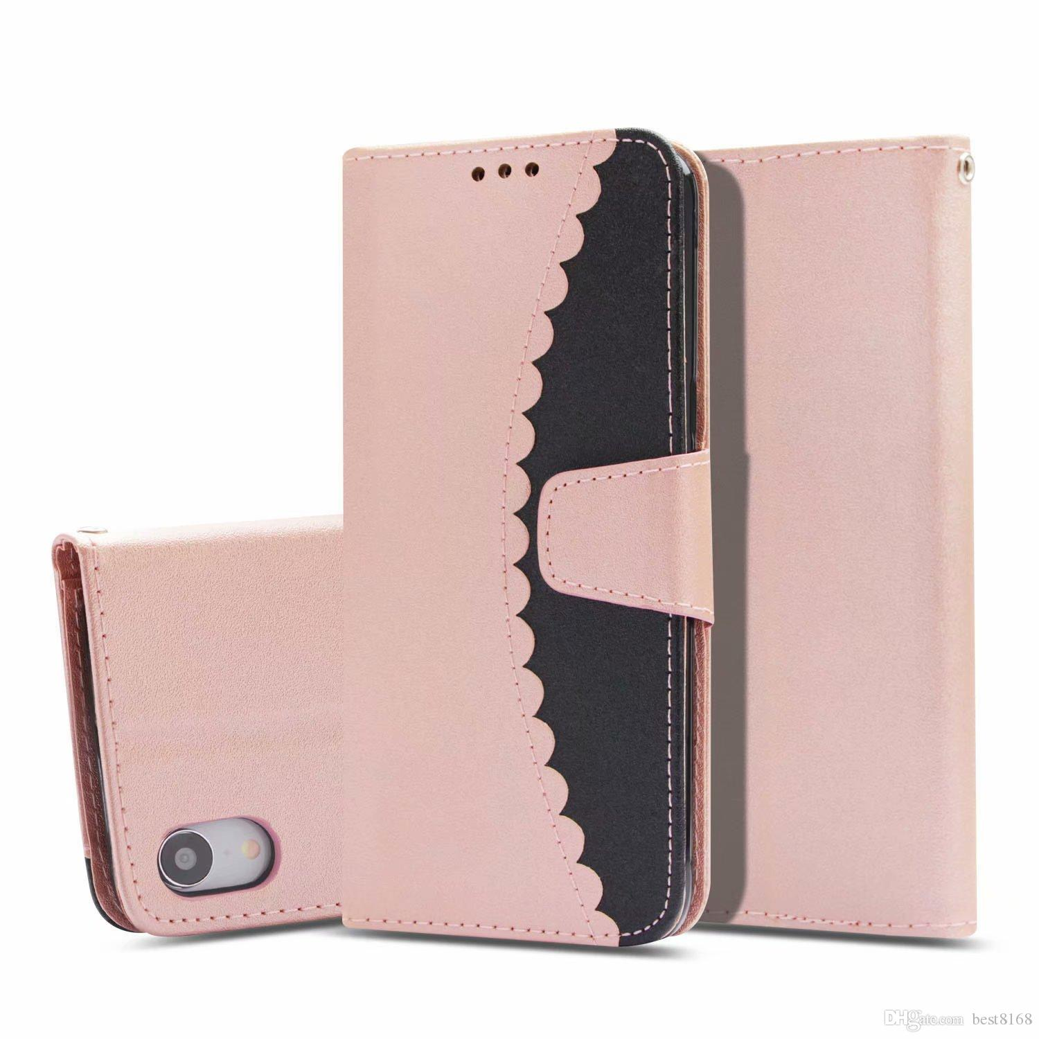 For Galaxy Note 9 Hit Color Leather Wallet Case For IPhone XR XS MAX 6.5 2018 Hybrid Flip Covers Lace Card Slot Cash Phone PU Pouch Strap
