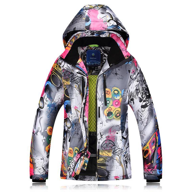 2018 Chaquetas de esquí de invierno para mujer, de doble tablero, ropa de esquí, a prueba de viento, impermeable, cálida y gruesa, chaqueta de abrigo para mujer