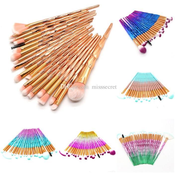 20Pcs/set Eyes Makeup Brushes Set Rainbow Diamond makeup brush for Eyeshadow Eyebrow Eyeliner brush fan shape foundation powder brush