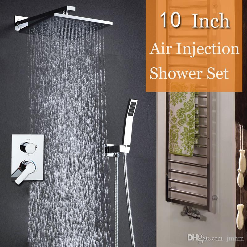 Modern Good HM Water Saving Shower Head Set Square Rain Shower Bath 10 Inch Bathroom Shower Faucets Brass Chrome Hot and cold