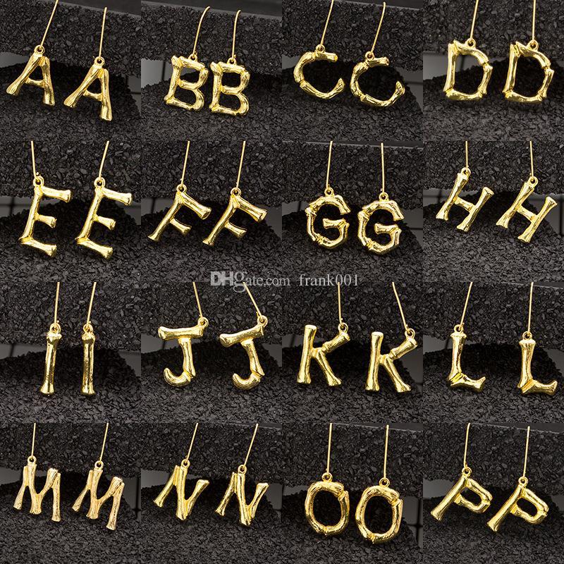 초기 문자 귀걸이 26 알파벳 드롭 귀걸이 골드 컬러 여성을위한 큰 대형 패션 귀걸이 구리 보석