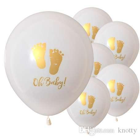 Kuchang 10 adet Oh Bebek Baskılı Lateks Balonlar Bebek Ayaklar Doğum Günü Partisi Dekorasyon Çocuk Babyshower Oğlan Kız için Desen malzemeleri